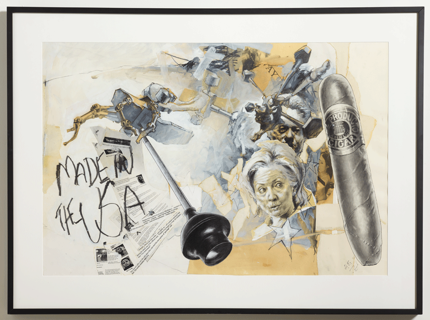 Ed Bereal, El Producto, a Plumber's Friend (2002). Graphite and collage on paper, 35.5 x 48 inches. Image courtesy of the artist and Harmony Murphy Gallery. Photo: Marten Elder.