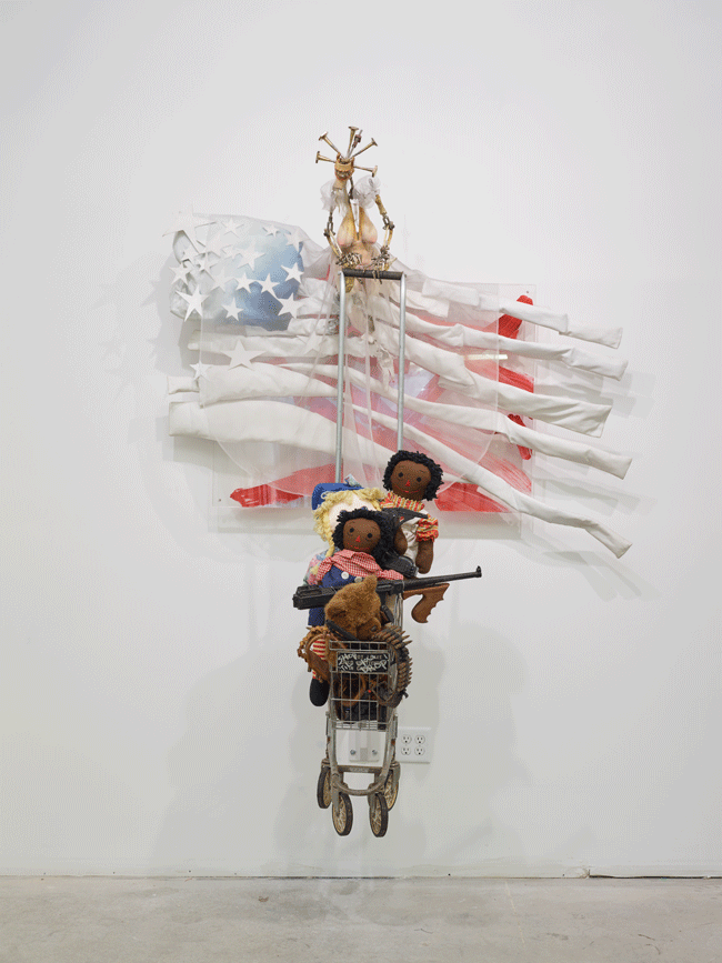 Ed Bereal, Homage to LA: Just a lil Sumpthin for the Kids) (1963-1994). Mixed media, 84 x 63 x 32.5 inches. Image courtesy of the artist and Harmony Murphy Gallery. Photo: Marten Elder.