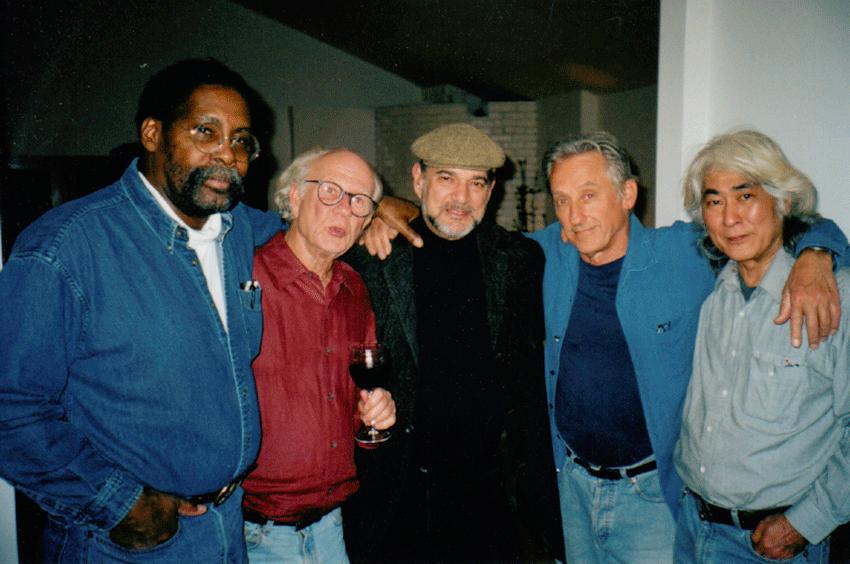 Bereal and Boys (2004) Los Angeles. Left to right: Ed Bereal, Joe Goode, Larry Bell, Ed Ruscha, Ron Miyashiro. Photo: Jerry McMillan.