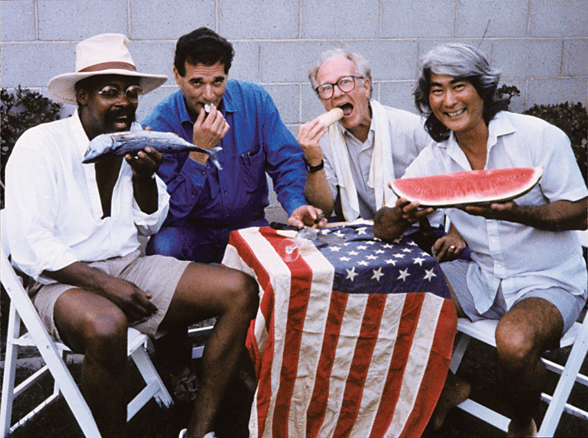 War Babies (1992) Los Angeles. Left to right: Ed Bereal, Ed Ruscha, Joe Goode, Ron Miyashiro. Photo: Jerry McMillan.