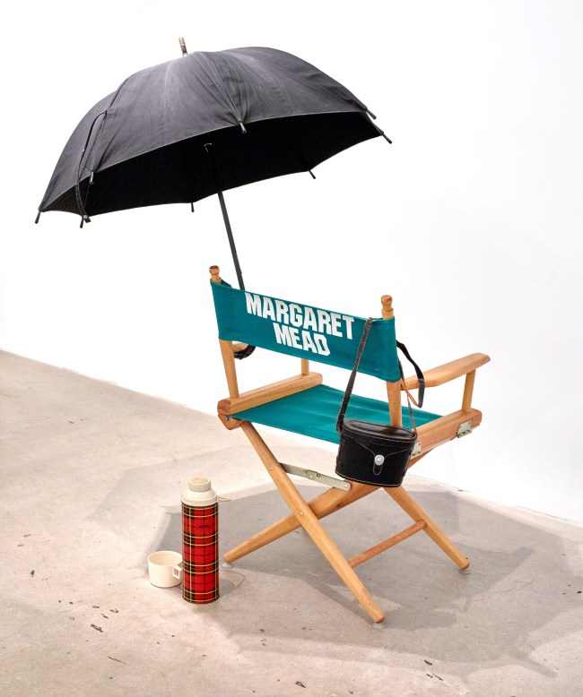 Eleanor Antin, Margaret Mead (1970). Umbrella, chair, binoculars with case, thermos, dimensions variable. Image courtesy of the artist and Diane Rosenstein, Los Angeles.