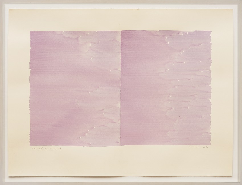 Irma Blank, Radical Writings, Pagina doppia, dal libro totale, IX, gennaio (1986). Watercolor on paper, 22.25 x 30 inches. Image courtesy of the artist and P420 Gallery, Bologna. Photo: Dario Lasagni.