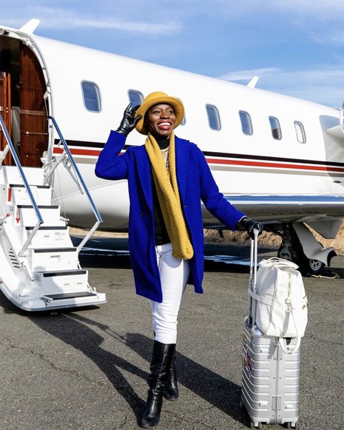 Jessica Nabongo at Teterboro Airport, New Jersey. The first black woman to visit every country in the world.