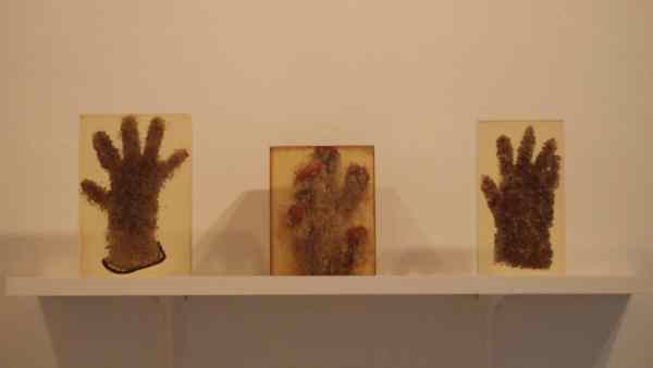 "Teresa Murak, three ""Hand-sculptures"" by Teresa Murak, done in 1975 from the series ""Objects I -III"", courtesy Dr. Osman Djajadisastra"