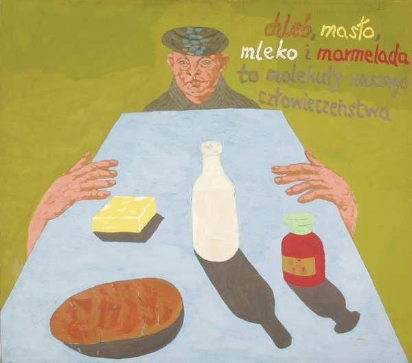 """""""Chleb, maslo, mleko i marmelada to molekuly naszego czlowieczenstwa"""" by Ryszard Grzyb, from 1988, courtesy Dr. Osman Djajadisastra"""