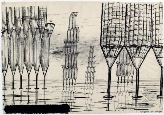Jan Głuszak Daga rama Jednostki mieszkalne wysokie nawodne, 1962 Overwater high housing units Ink on tracing paper, 34 × 49 Muzeum Architektury we Wrocławiu