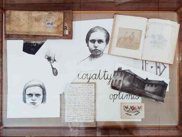 "Sława Harasymowicz, Idle, Abusive, Unruly, 2013, archival documents from Vestry House, drawings, display cabinet, dimensions variable, ""A tourist in other people's reality"", Vestry House Museum, London, August 2013, Photo Contemporary Lynx"