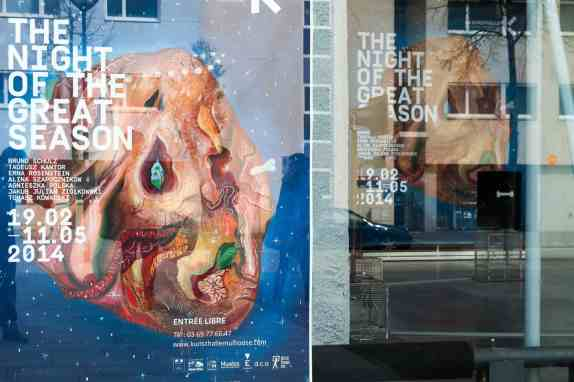 La Kunsthalle in Mulhouse, France, poster of the exhibition The Night of the Great Season, photo Contemporary Lynx, Mulhouse, March 2014