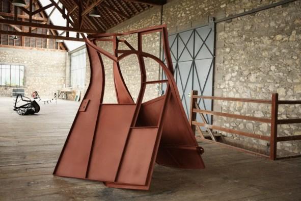 Monika Sosnowska, Gate (work in progresss) 2014, Steel, paint, 200 x 189.9 x 127 cm / 78 3/4 x 74 3/4 x 50 inches © Monika Sosnowska Courtesy the artist and Hauser & Wirth