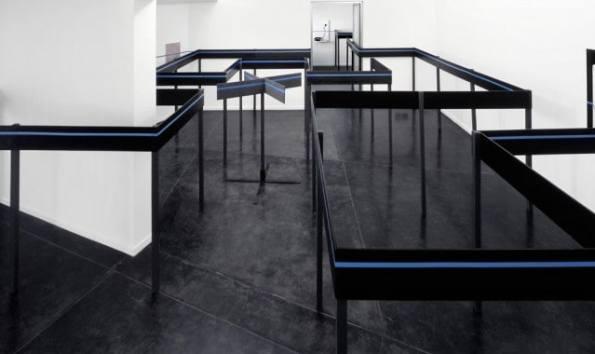 Edward Krasiński, Labyrinth, 1987, acrylic, fibreboard, wood, metal and bleu Scotch tape, dimensions variable, courtesy Starmach Gallery