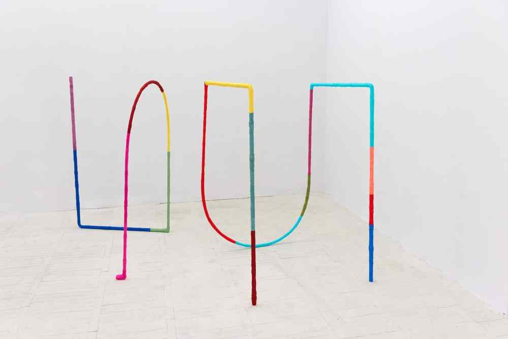 Alicja Bielawska, Excercises for Two Lines, 2014 steel, textile, 140 x 230 x 150 cm