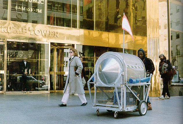 "Krzysztof Wodiczko, ""Homeless Vehicle,"" 1988. Pictured: Variant 3 at Trump Tower, New York."