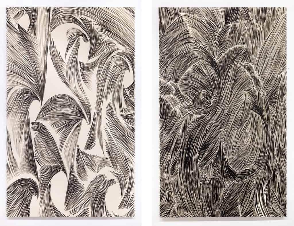 Kompozycja MI-06, Cm. 255 x 155, Kompozycja MI-10, Cm. 235 x 140, 2017, Inks on canvas, Credits for all images: Courtesy the Artist and Antoine Levi, Paris, Photograph: Aurélien Mole