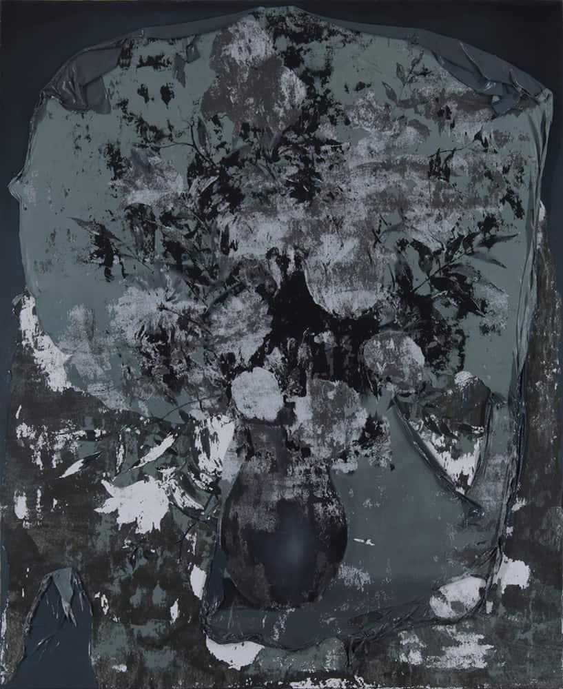 Paweł Baśnik, Flower, oil and acril painting on canvas, 200x160cm, 2017
