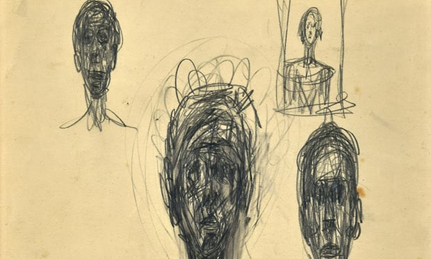 A detail from one of the pencil sketches by Giacometti. Photograph: Mark Brown for the Guardian