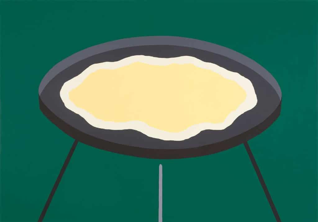 Yui Akiyama,scramble eggs on grill, 2017, acryl, canvas, 140 x 200 cm, courtesy of the artist.