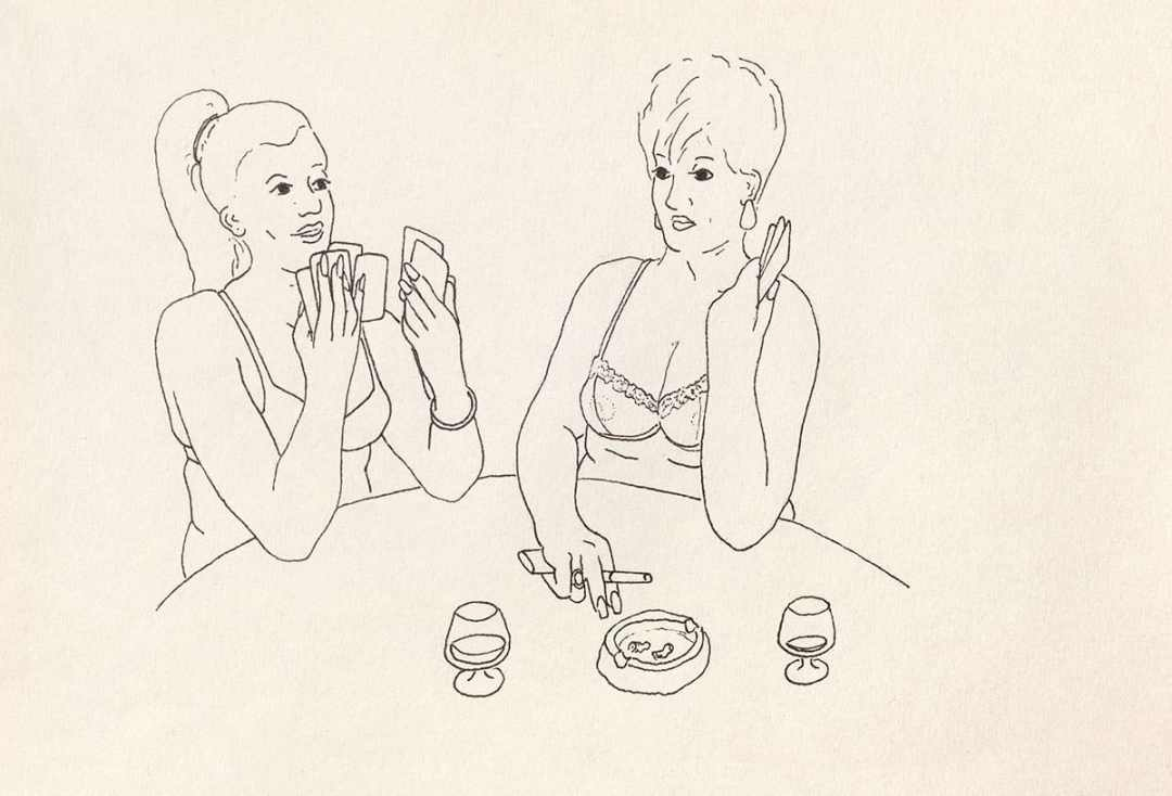 Rafał Dominik, Agata and Kasia playing strip poker, felt-tip, paper, 18x25cm, 2016