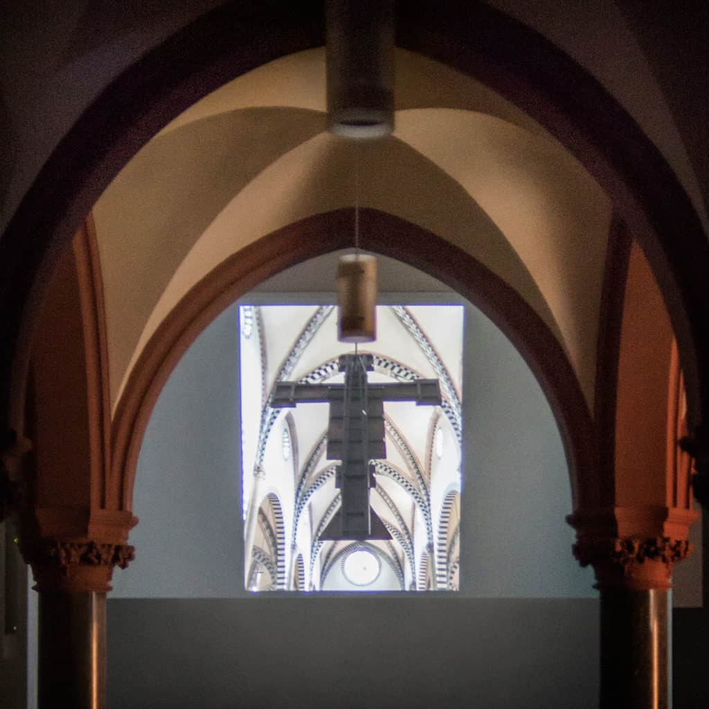 """Mad Tea Party"" (curated by Aneta Rostkowska and Jakub Woynarowski), ""Fugitive Mirror"" by Alexander Nagel and Amelia Saul, lecture/video, Christuskirche, Cologne, 2017"