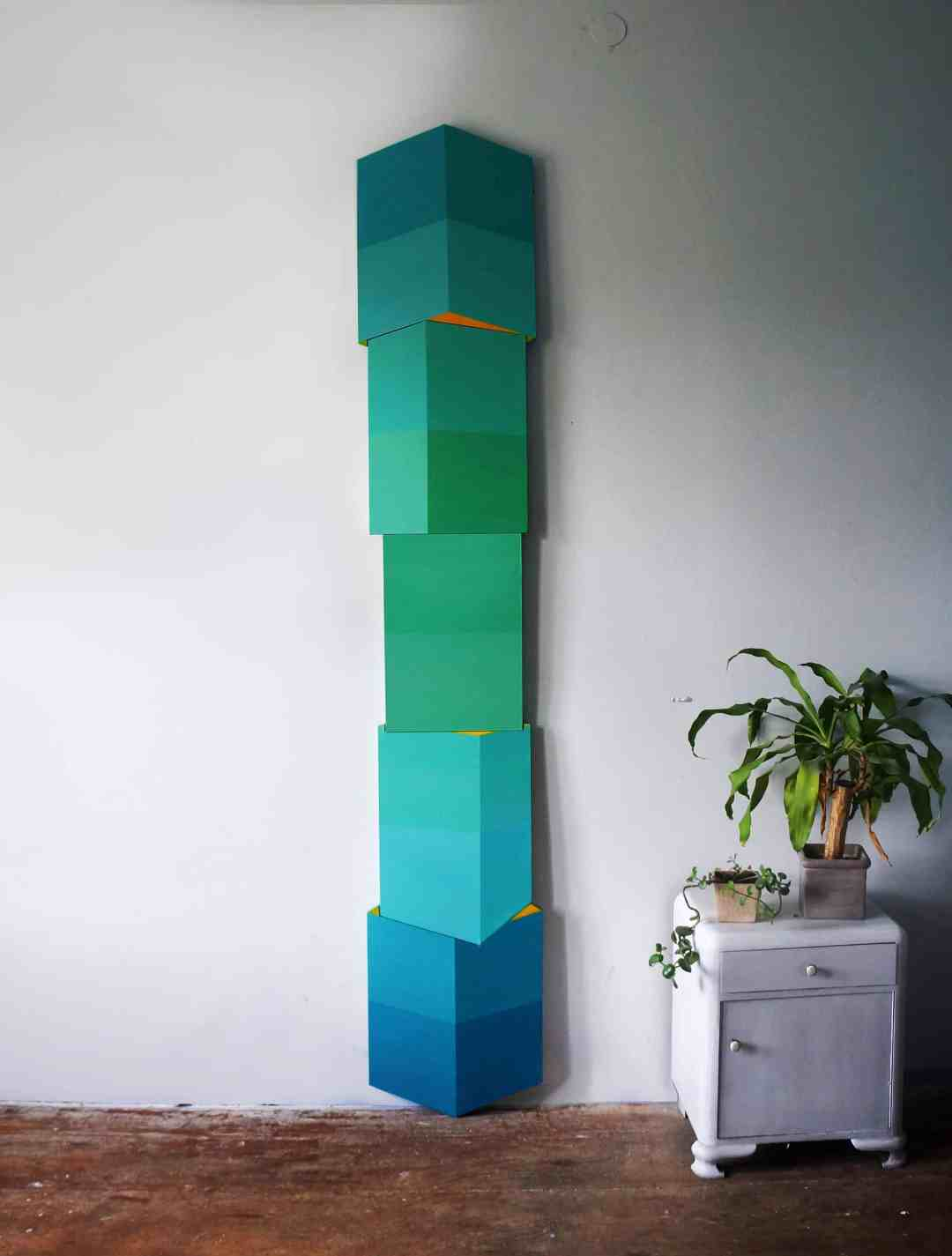 Karolina Balcer, Skyscraper, 5 stretchers, acrylic on canvas. H: 250cm, 2017