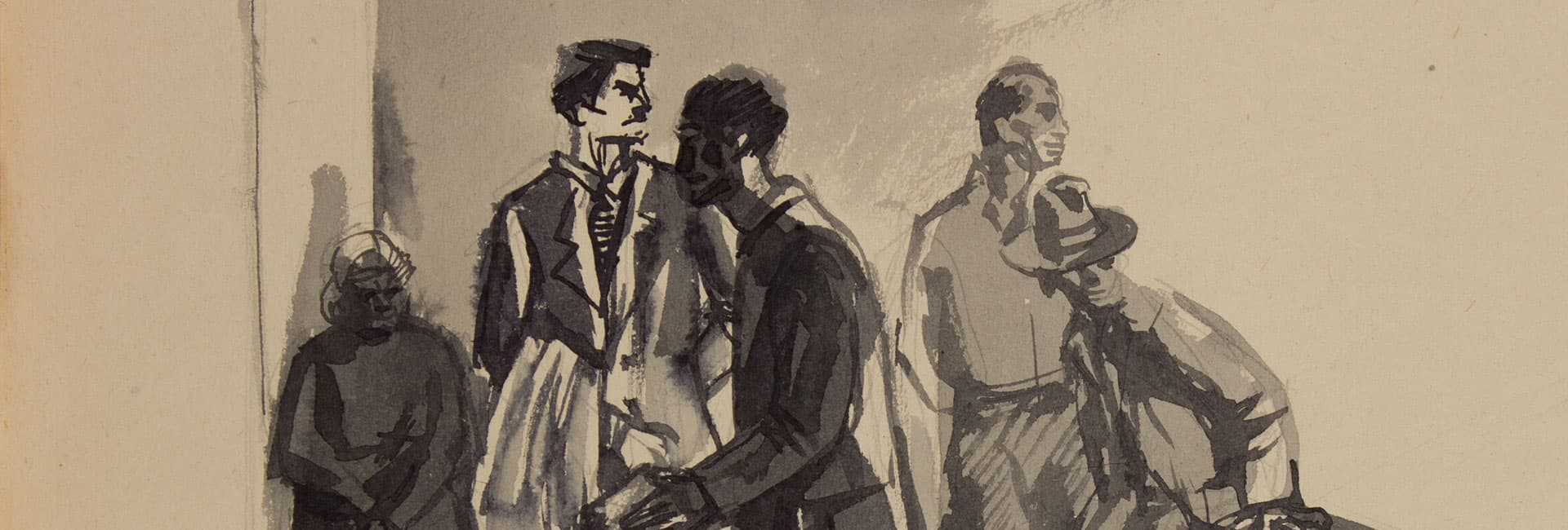 [Group Scene no.238] detail Undated Watercolour and gouache on paper 15 x 21 cm Private collection © Andrzej Wróblewski Foundation