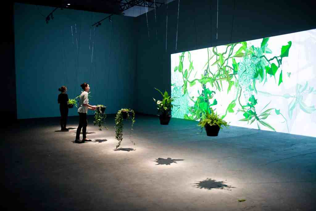 """Eau de Jardin at exhibition """"Wonderful Life"""" in CCA LAZNIA, Christa Sommerer and Laurent Mignonneau, 2012, photo Krzysztof Miękus"""