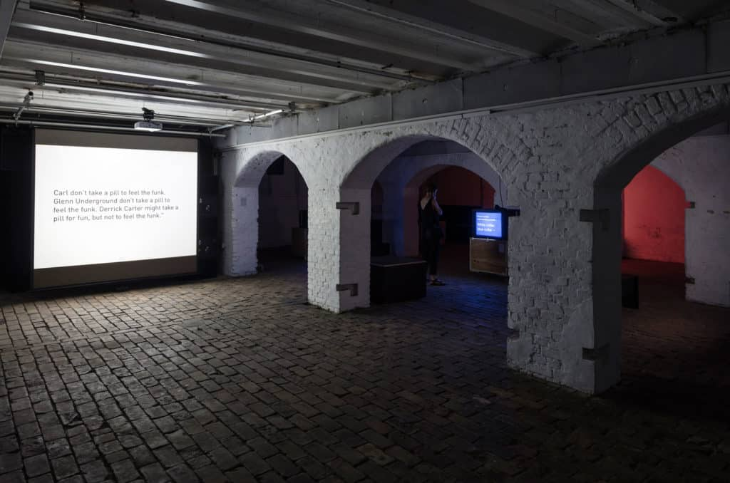 Tony Cokes, installation view, 10. Berlin Biennale, ZKU Zentrum für Kunst und Urbanistik, Berlin, courtesy Tony Cokes; Greene Naftali, New York; Electronic Arts Intermix, New York, photo Timo Ohler