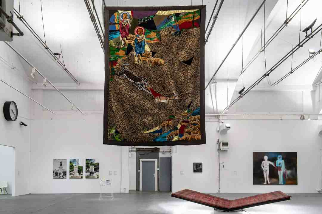 "In the foreground: ""Double Jesus and the Baby Antelope"", textile collage, 1984, photo: Wojciech Pacewicz"