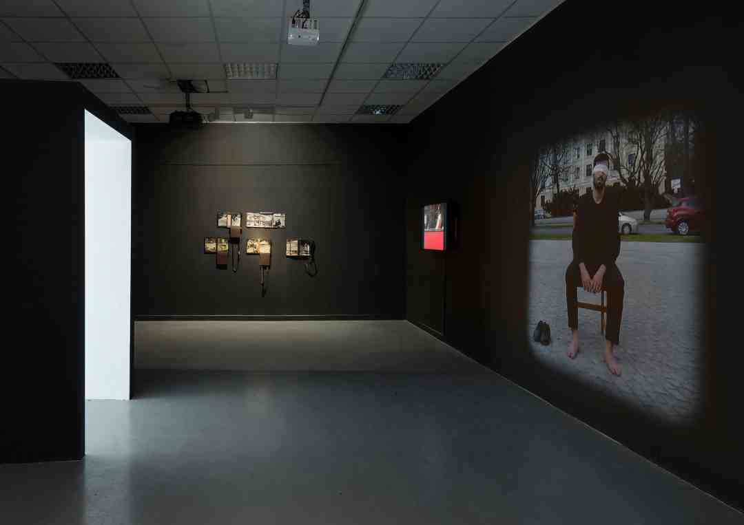 View from the exhibition 'Operations on places', on the right: 'MMXVI' Arutiun Sargsyan, photo: Elad Sarig, courtesy of the Petach Tikva Museum of Art