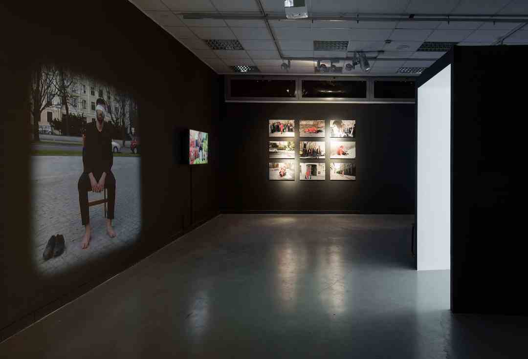 View from the exhibition 'Operations on places', on the left: 'MMXVI' Arutiun Sargsyan, straight: 'Dispositions' Adina Bar-On, photo: Elad Sarig, courtesy of the Petach Tikva Museum of Art