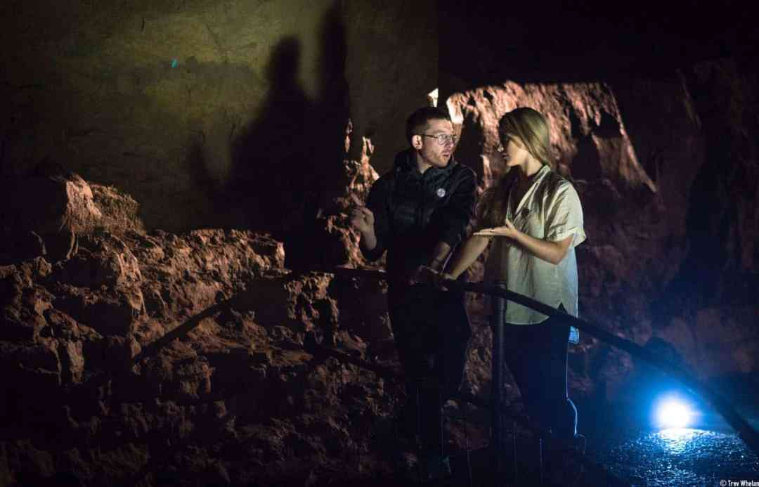 AlanJames Burns and wrtier Sue Rainsford discussing the work In Aillwee Caves ©Trevor Whelan