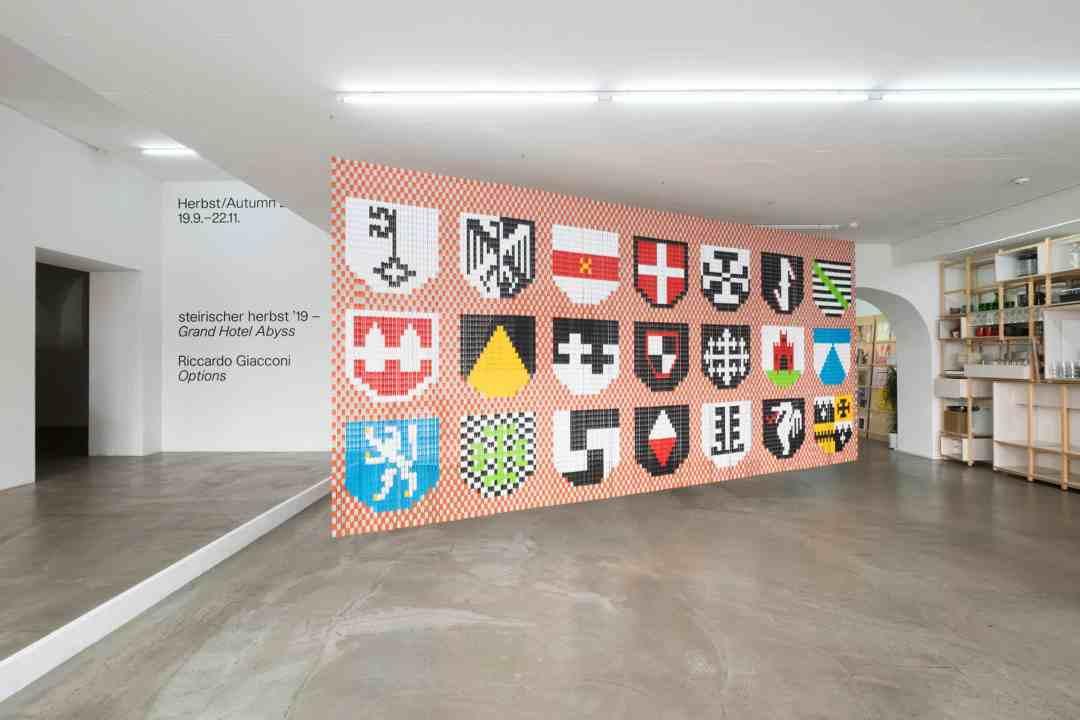 Riccardo Giacconi, Options, Wappenrolle, plastic curtain, installation view, Grazer Kunstverein, photo: Clara Wildberger