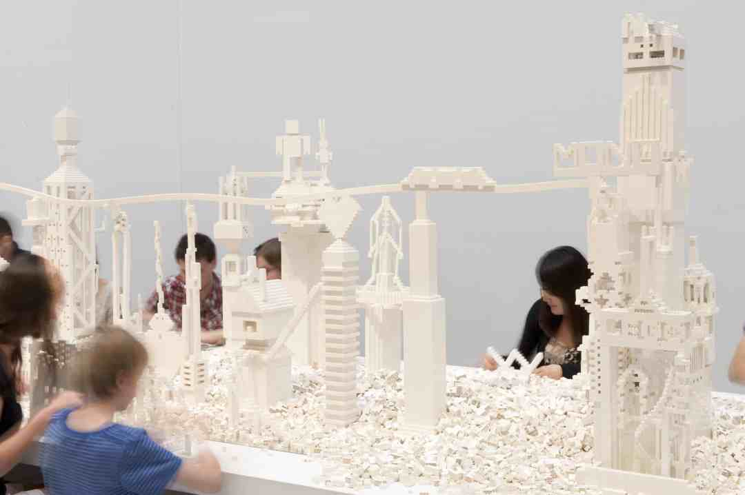 Olafur Eliasson, The cubic structural evolution project, 2004, White LEGO bricks (various sizes), wood, mirror Installation view: QAGOMA, Photo: Mark Sherwood, QAGOMA, © 2004 Olafur Eliasson