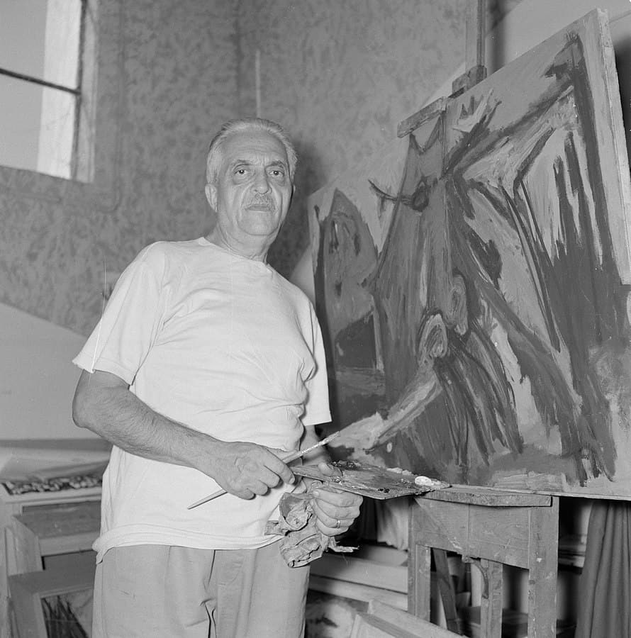 Marcel Janco on his atelier