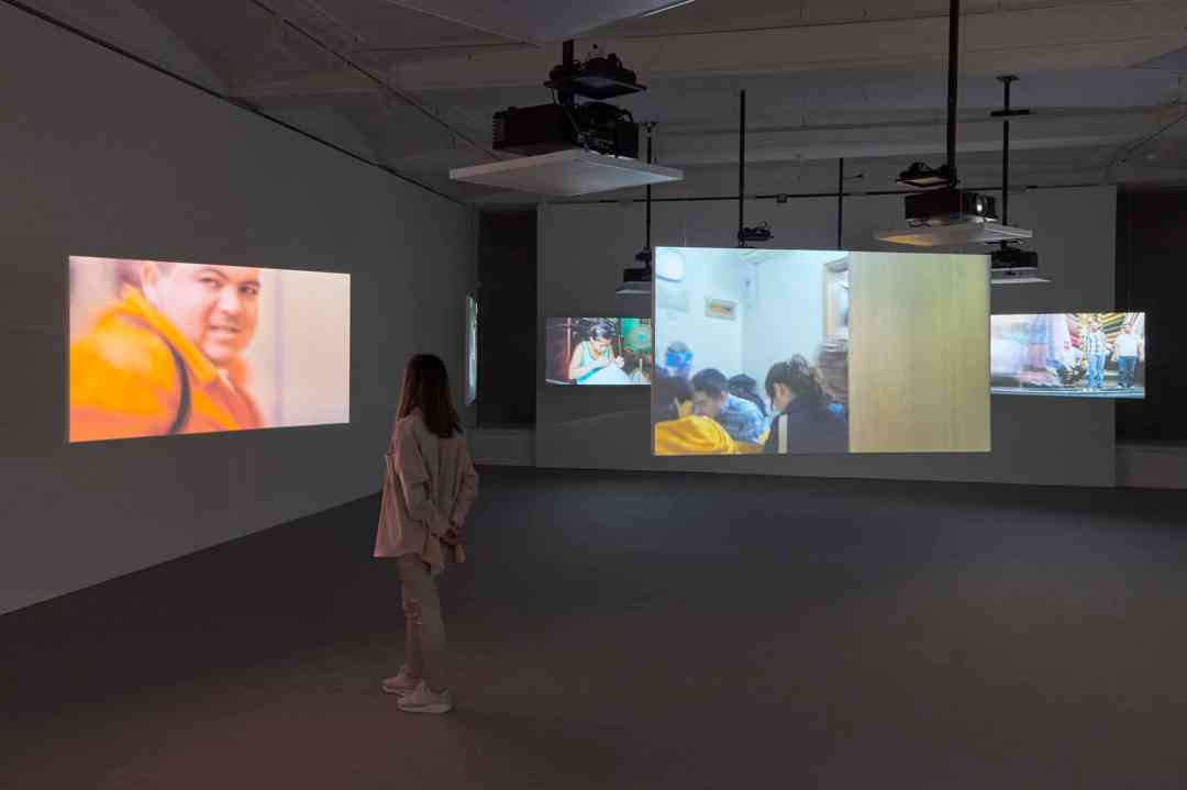 Harun Farocki installation, Life Captured Still, Galerie Thaddaeus Ropac, London