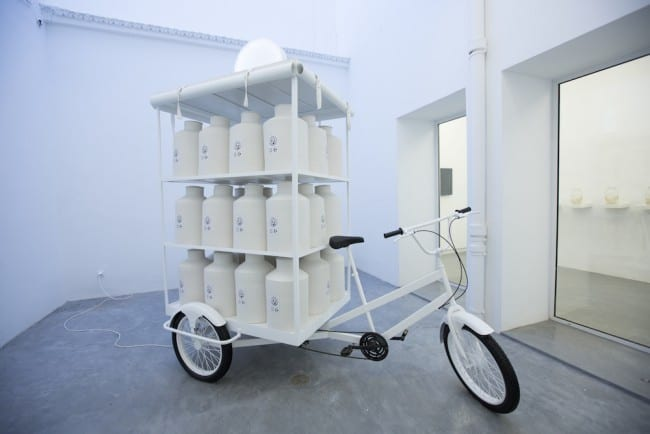 installation Moving point, 2015, ceramics, tricycle and electricity