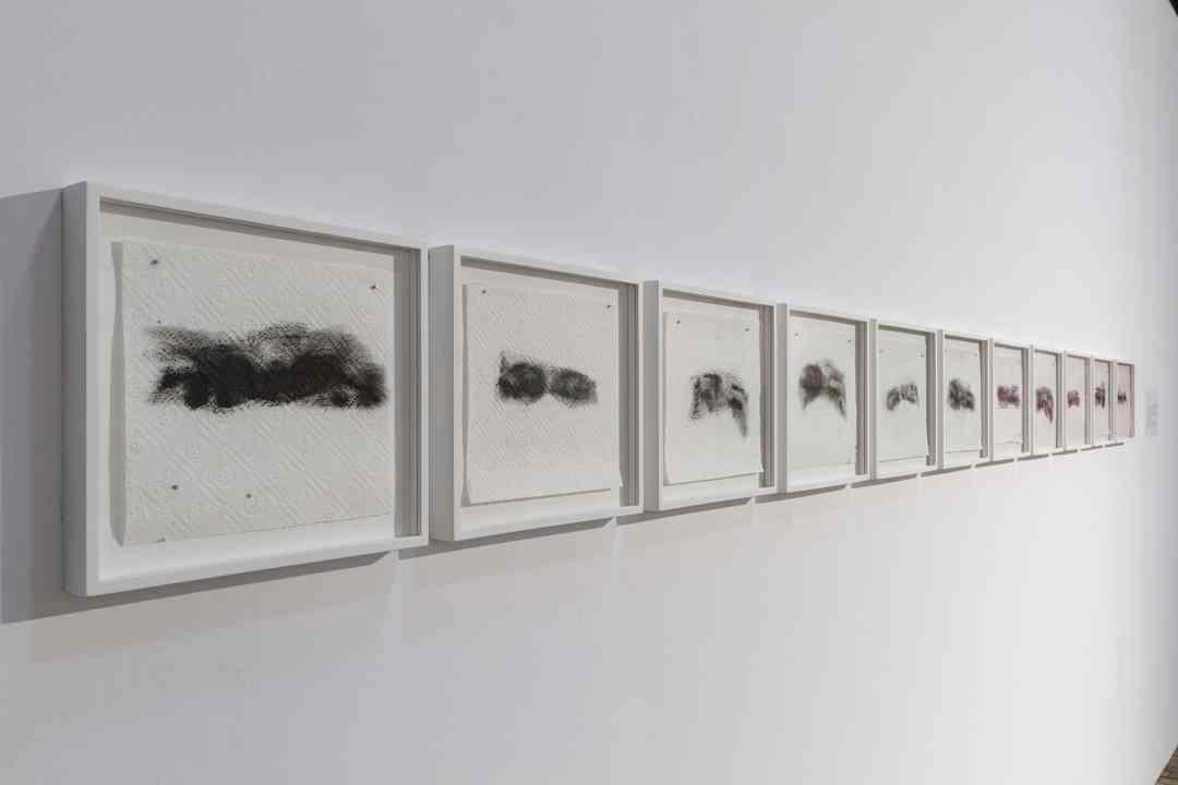 Rafał Bujnowski, Masks, 2020, 11 drawings, oil on paper, each 23 cm x 26 cm, photo Maciej Zaniewski