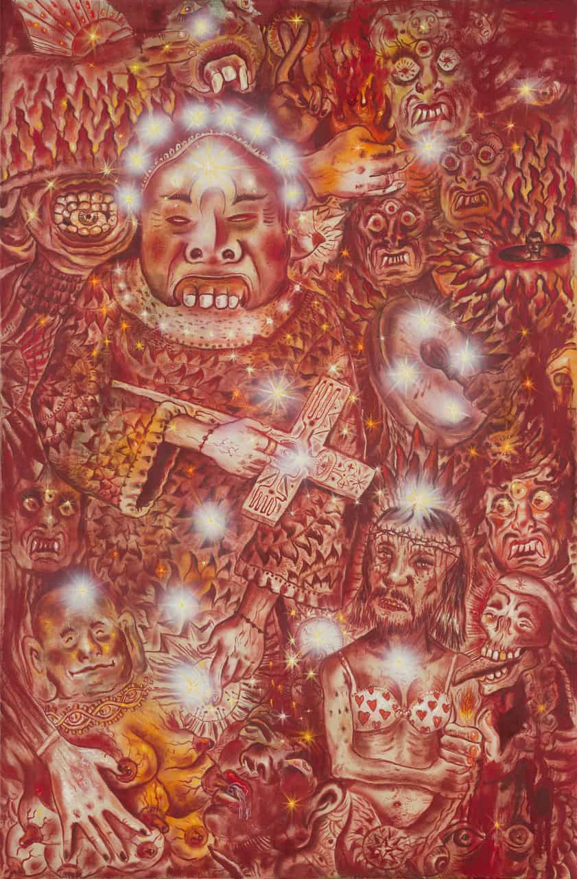 Jakub Julian Ziółkowski, Temple of them all_Świątynia Ich Wszystkich, 2019, oil on canvas, 95 x 145cm, photo by Mateusz Torbus, courtesy of the artist