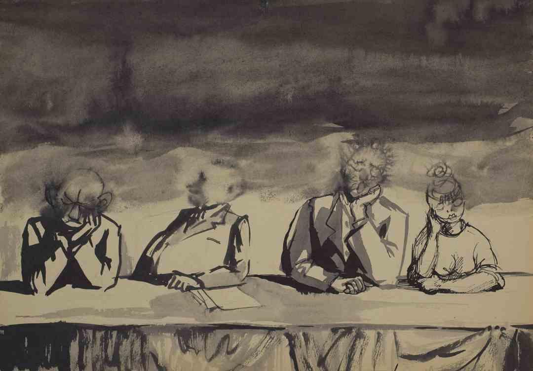 (The Presidium), [Group Scene no. 713] / (Prezydium), [Scena zbiorowa nr 713]; undated; ink, paper; 29.2 × 42 cm; private collection, © Andrzej Wróblewski Foundation