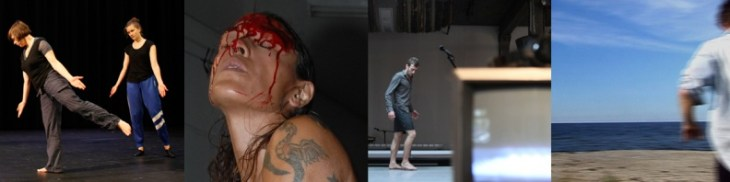 "Left to Right: reDANCE, founded by Sara Wookey; Photo: Antoinette Mooy. Julie Tolentino, THE SKY REMAINS THE SAME: Ron Athey's Self Obliteration # 1, 2011; Performance; Photo: Thomas Qualmann. Simon Courchel in a canary torsi's ""The People to Come,"" 2012; Photo: Julieta Cervantes. Jennifer Monson, Live Dancing Archive, 2013; Photo: Courtesy the artist"