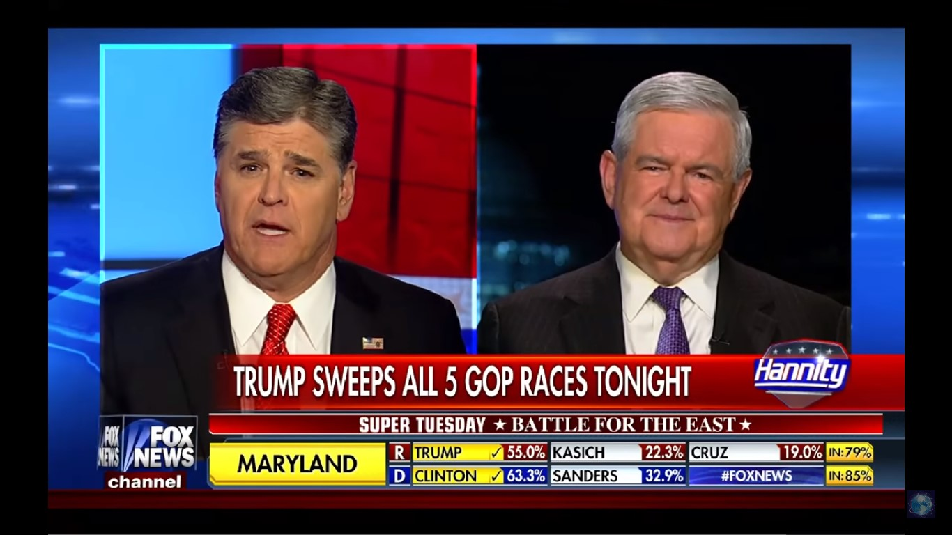 Sean Hannity Flies Newt Gingrich To Trump Meeting Because That's Totally Normal