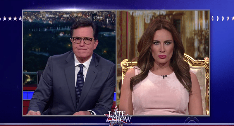 Stephen Colbert Interviews 'Melania Trump' About Billy Bush's Locker Room Talk