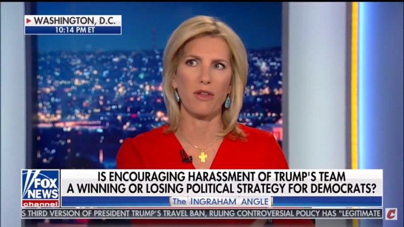 Laura Ingraham: Trump Folks Getting Harassed Is Just Like What We Saw 'In The Racist South'