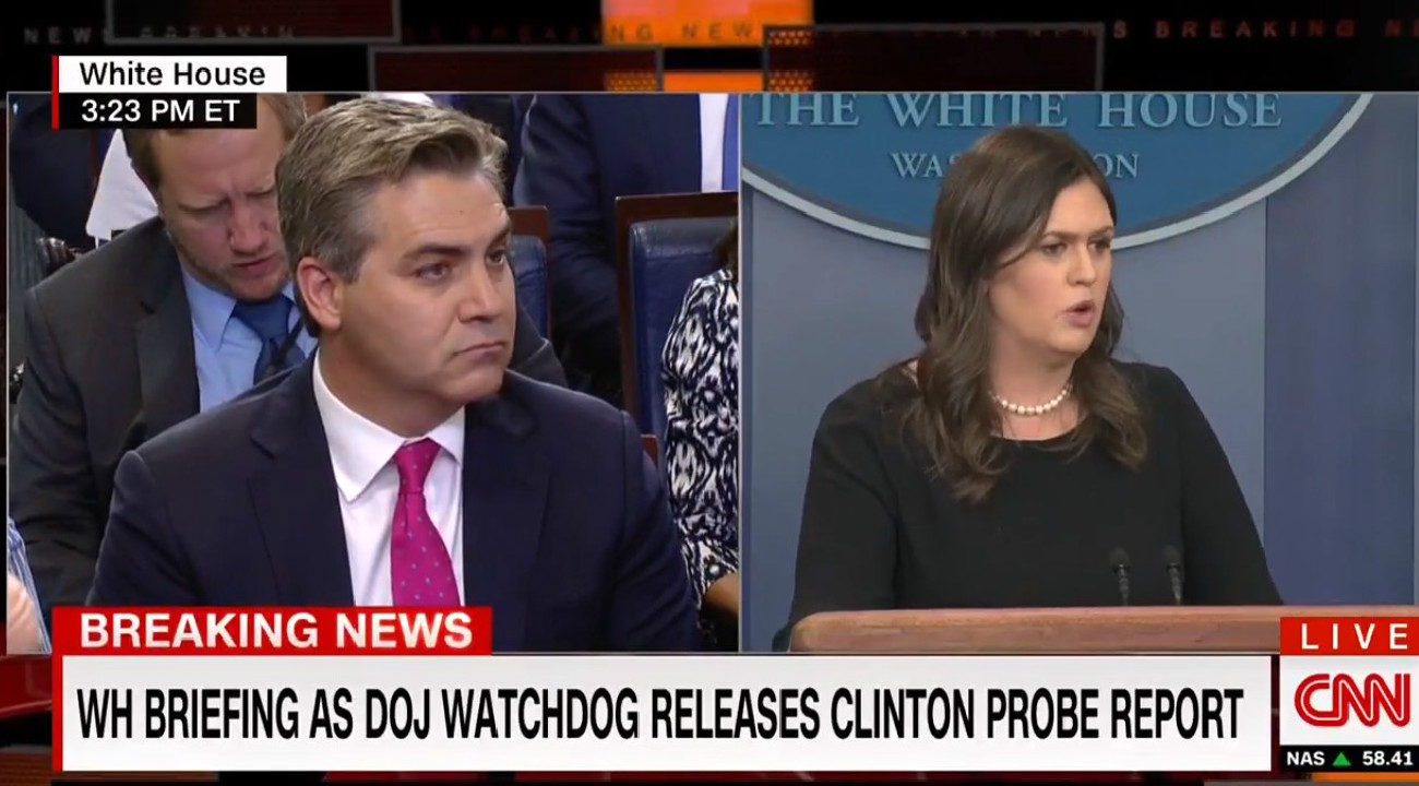 Sarah Sanders Sneers At CNN's Acosta: 'I Know It's Hard For You To Understand Even Short Sentences'