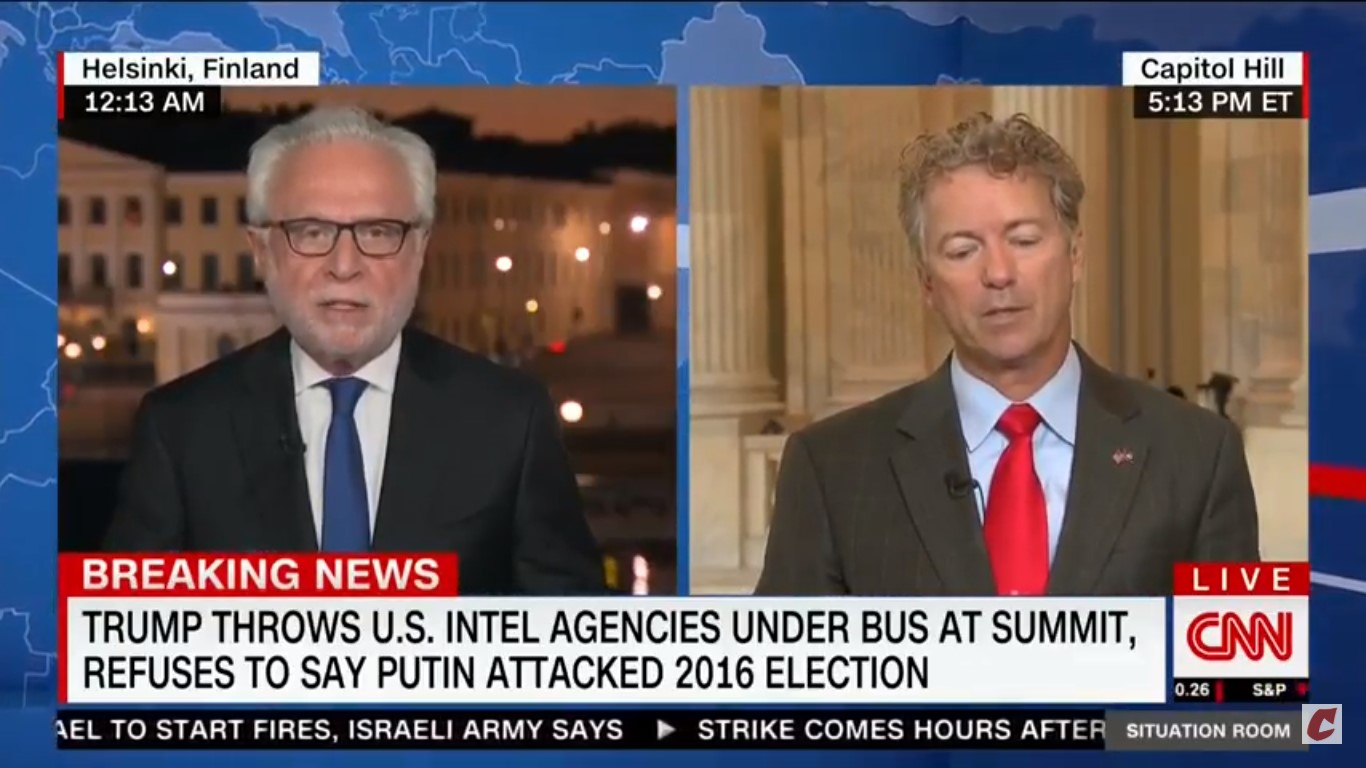 Wolf Blitzer Wasn't Having It From Rand Paul: Do You Trust Putin Over Our Intelligence Community?