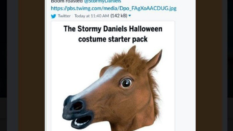 The Daily Caller Deletes 'Stormy Daniels Halloween Costume Starter Pack' Horseface Tweet