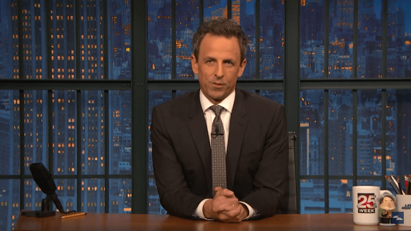 Watch: Seth Meyers Imagines Trump Taking Out Bin Laden 'Swinging A Rake Like It's A Sword'