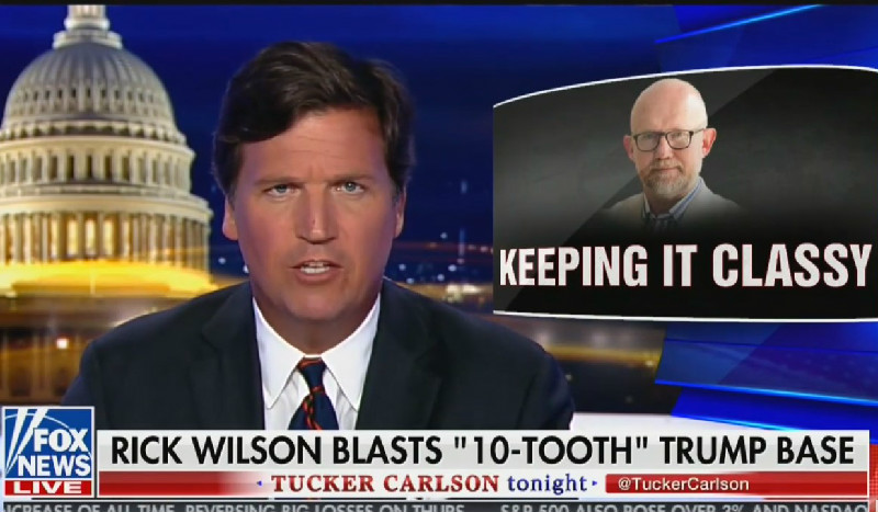 Tucker Swanson McNear Carlson Is Here To Defend The Toothless From Villainous Rick Wilson