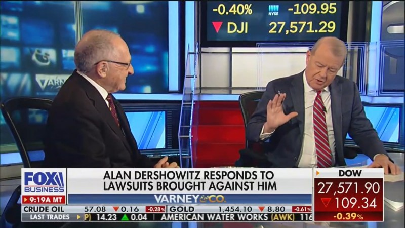 Fox's Stuart Varney Lectures Alan Dershowitz After He Calls His Epstein Accuser 'Sleazy'