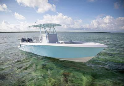 Contender 28T Center Console at the sandbar
