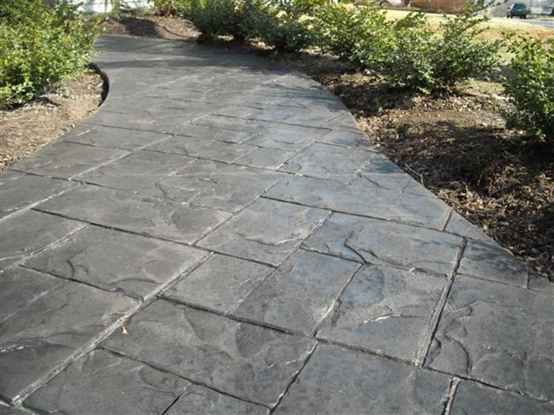 Brick Curbing Concrete Gray Stamped